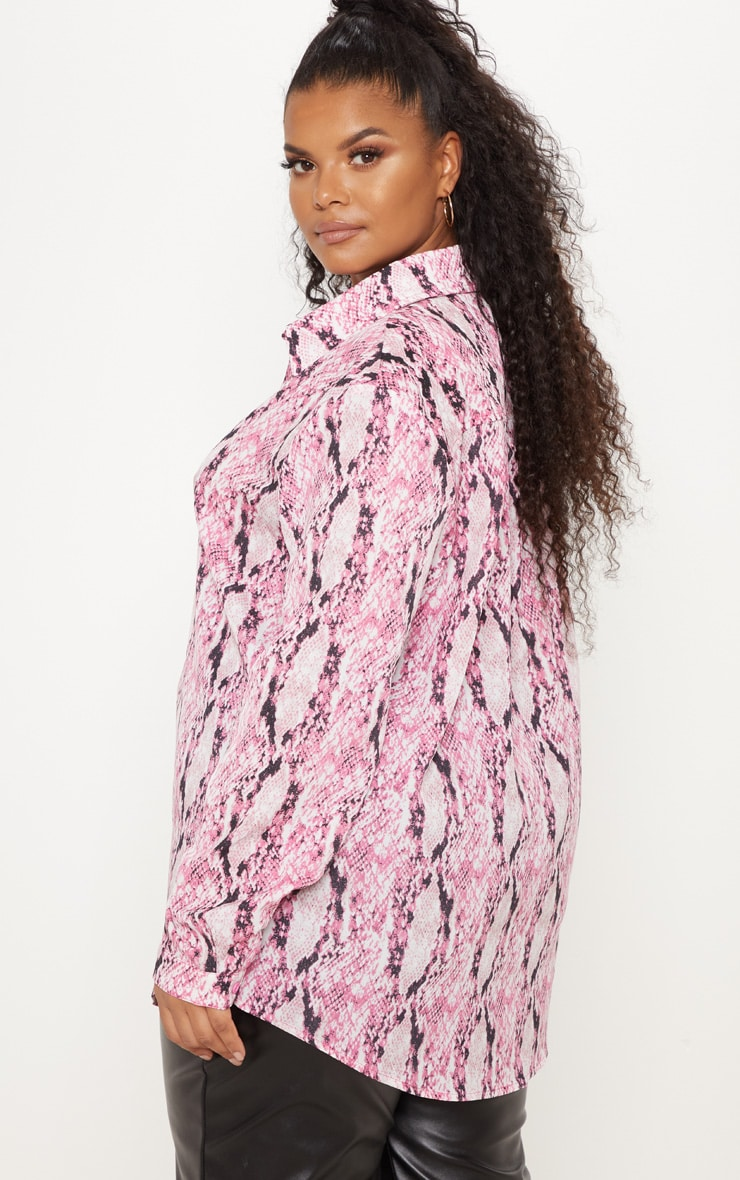 Plus Pink Snake Print Oversized Shirt 2