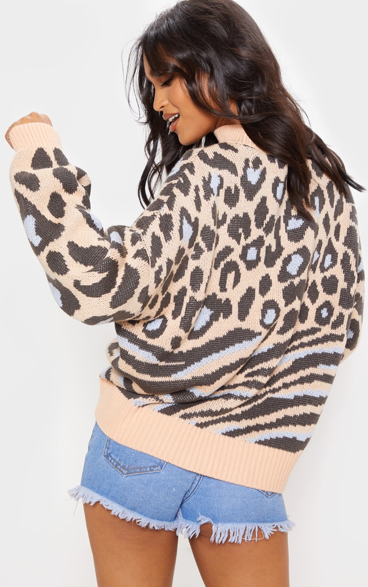 Peach Mixed Animal Print Knitted Sweater 2