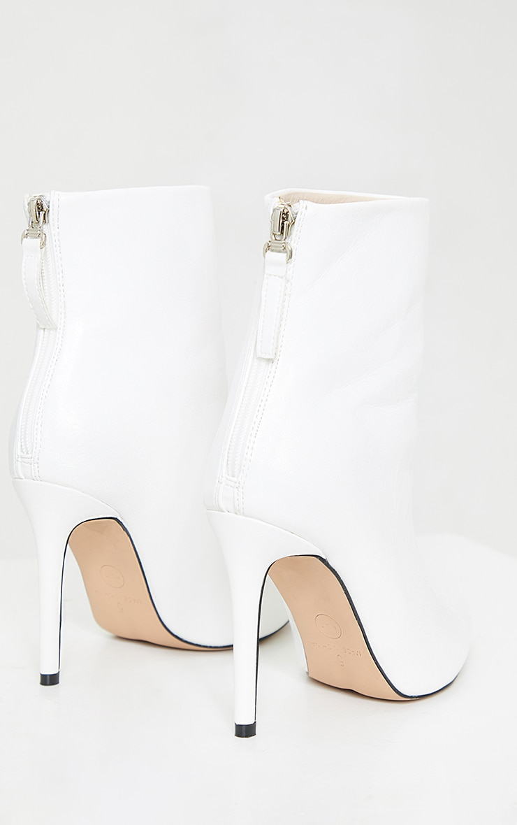 White Wide Fit Mid Heel Pointed Ankle Boots 4