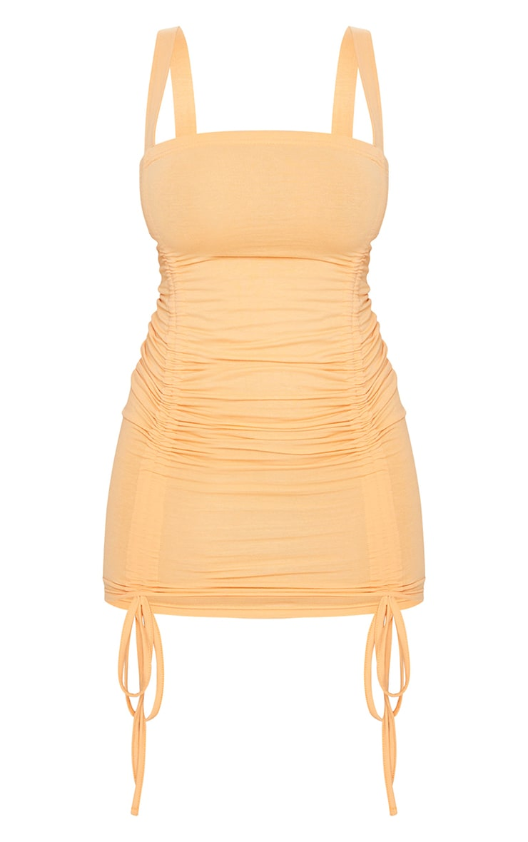 Shape Peach Cotton Ruched Front Strappy Bodycon Dress 5