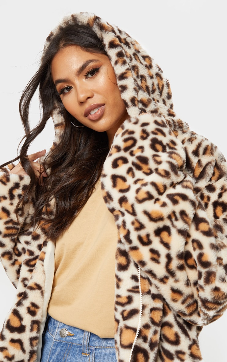 Stone Leopard Faux Fur Cropped Hooded Jacket 5