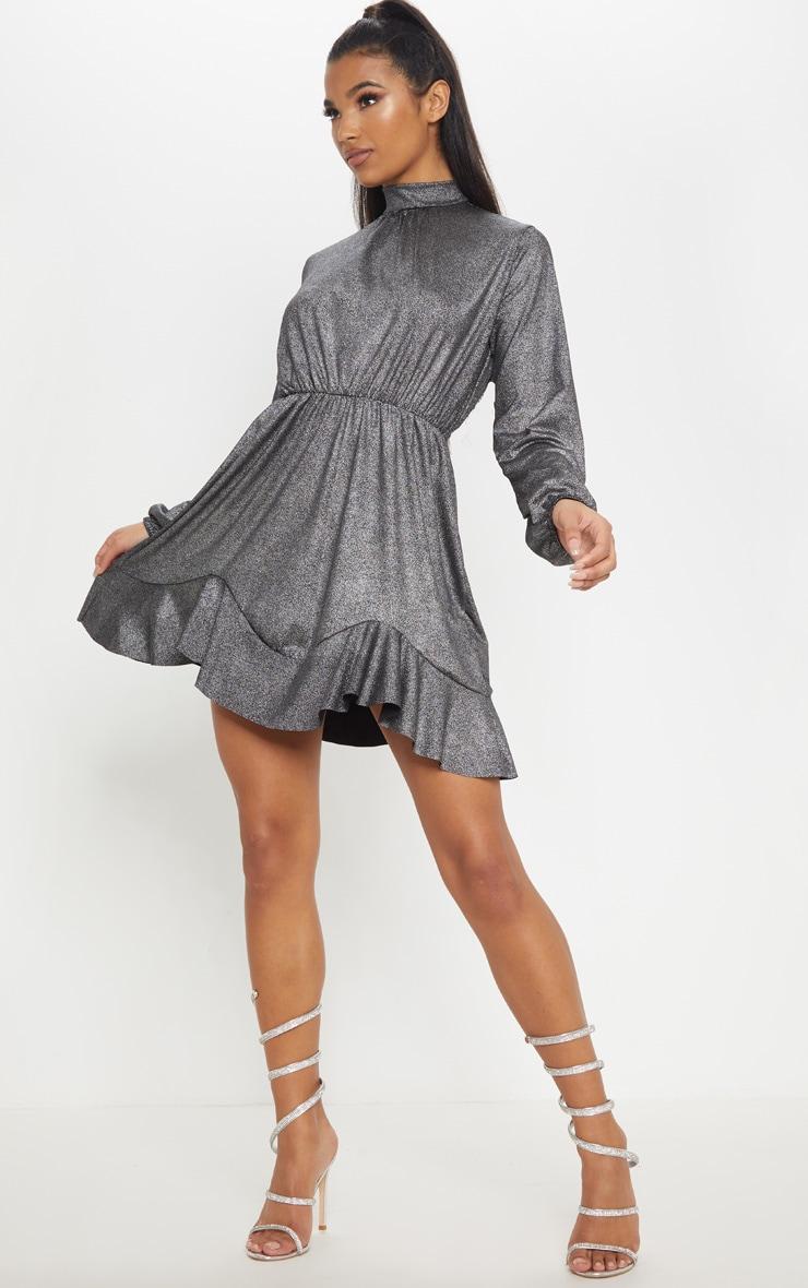 Silver Metallic High Neck Frill Hem Shift Dress 4