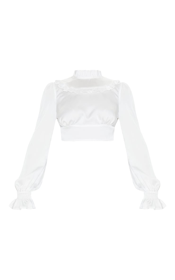 White Satin Frill High Neck Long Sleeve Top 3