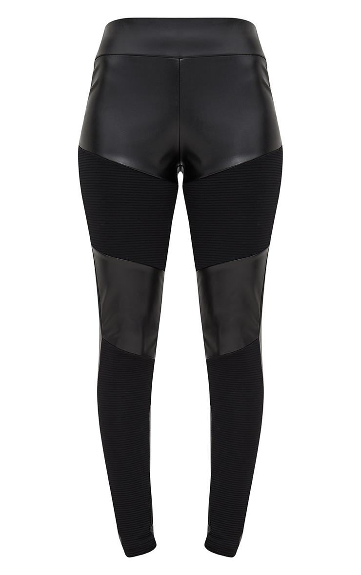 Black PU Ribbed Panel Leggings 3
