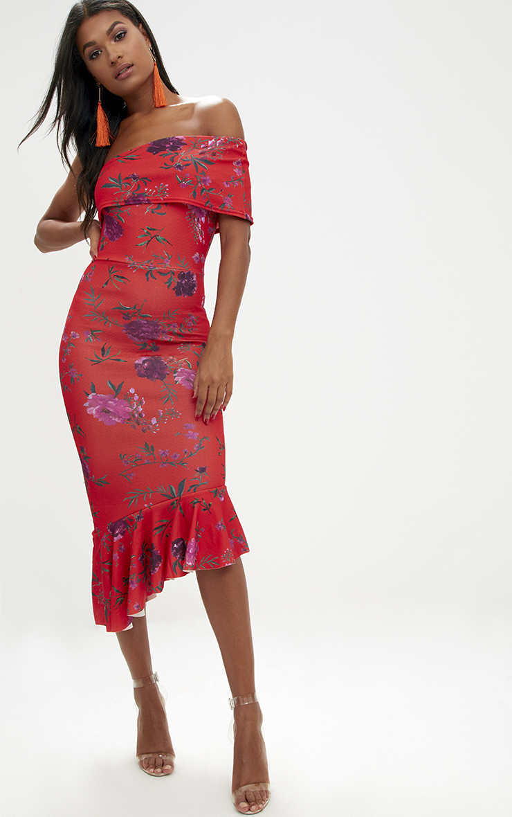 Orange Floral Asymmetric Bardot Frill Detail Midi Dress 1