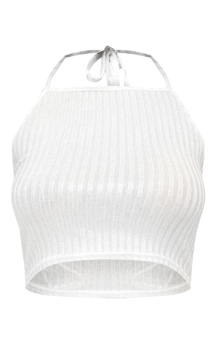 White Ribbed Shine Halterneck Crop Top 3