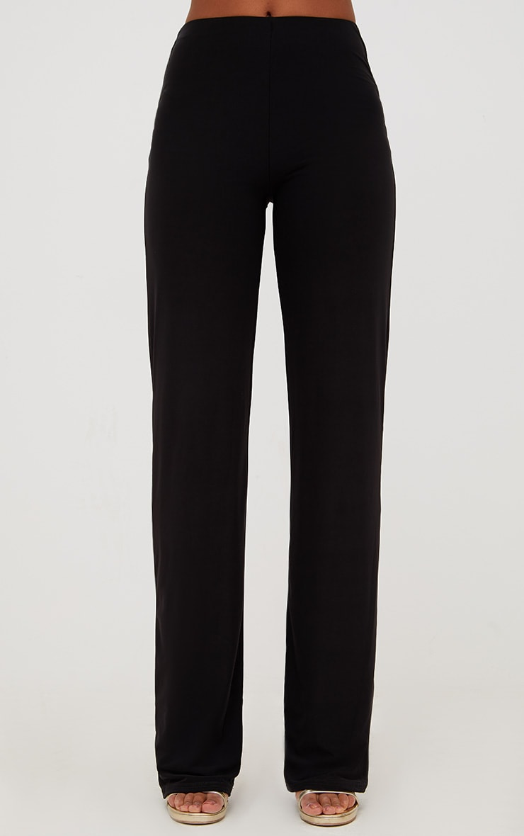 Black Double Layer Slinky Wide Leg Trousers 2