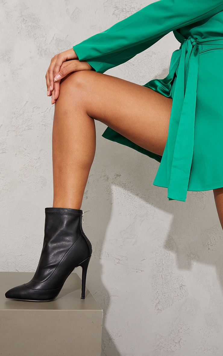 Black WIDE FIT Pu Pointed Ankle Sock Boots 1