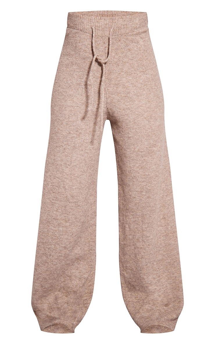 Recycled Oatmeal Knitted Wide Leg Pants 5