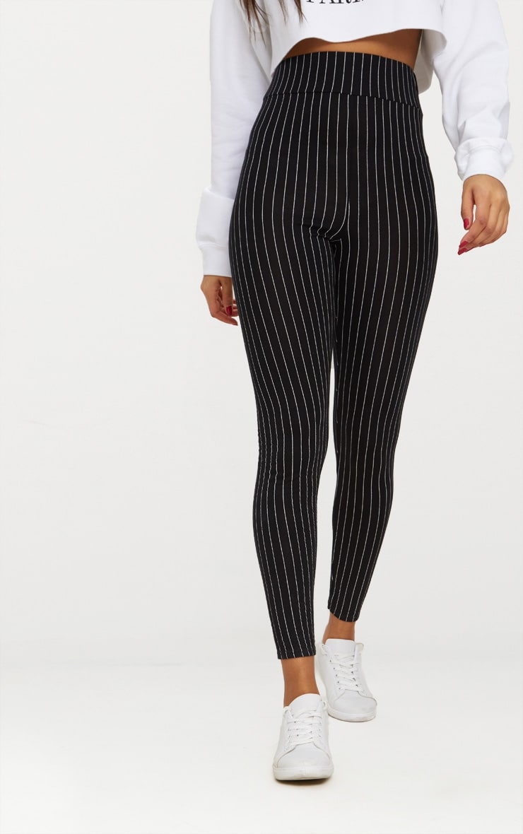 Black Pinstripe High Waisted Leggings 2