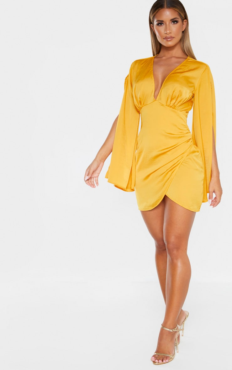 Mustard Hammered Satin Kimono Split Sleeve Shift Dress 3
