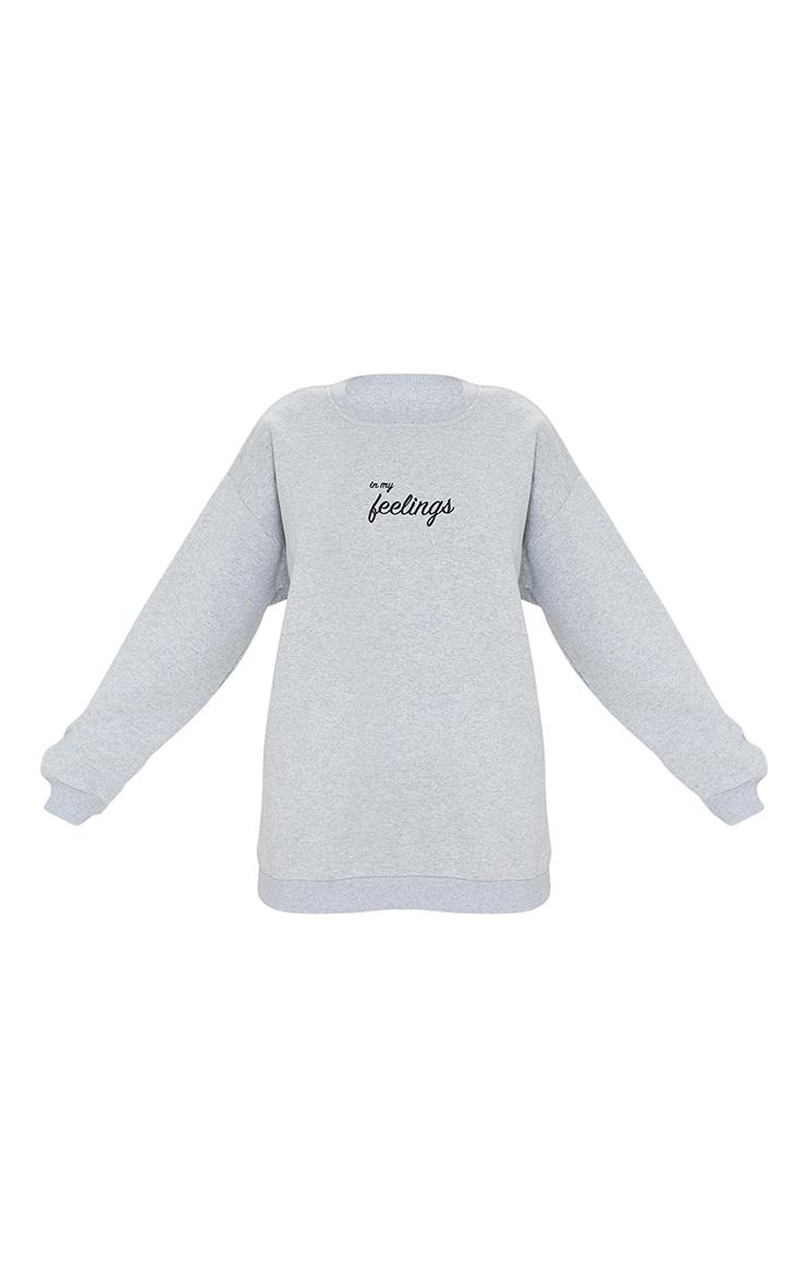 Grey In My Feelings Slogan Embroidered Sweatshirt 5