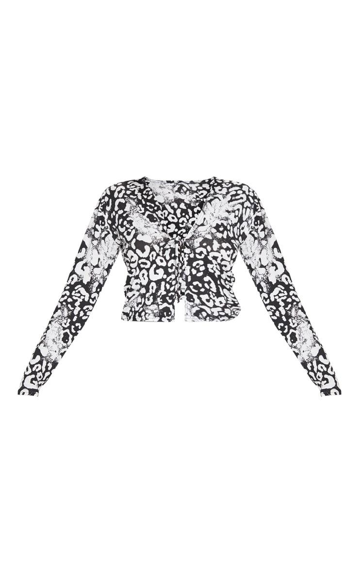 Monochrome Leopard Rib Tie Front Crop Top 5