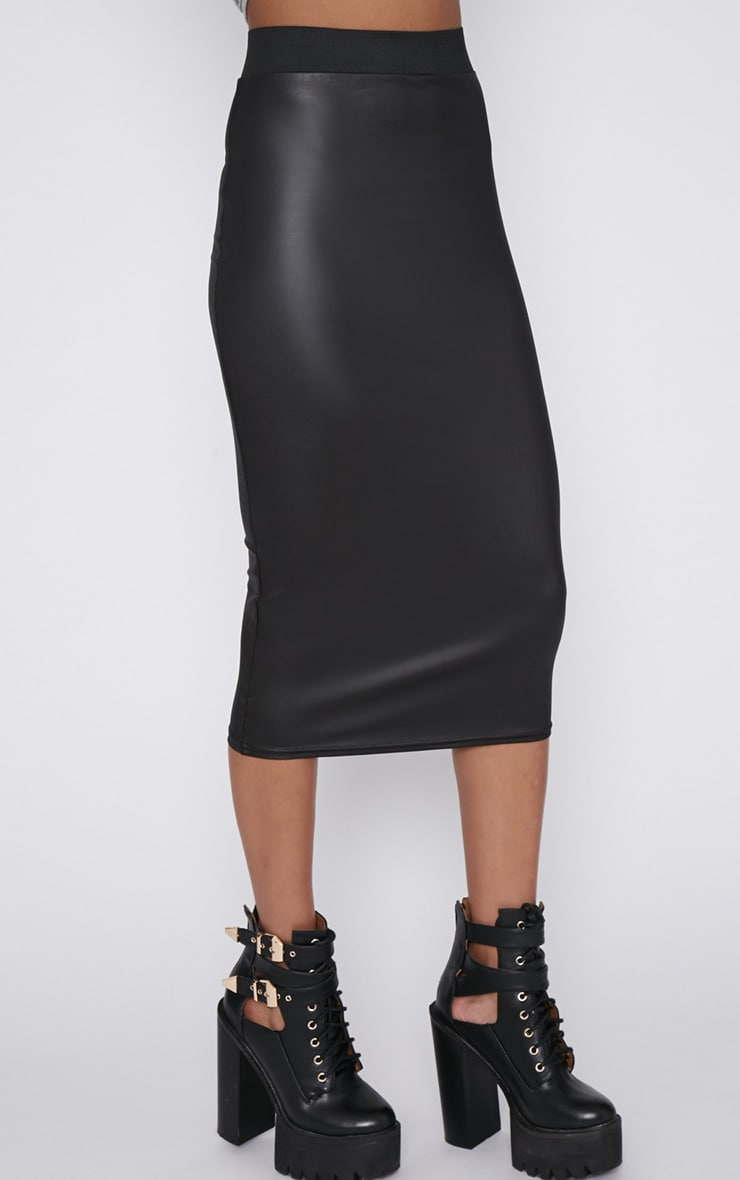 Annika Black Wet Look Midi Skirt  5