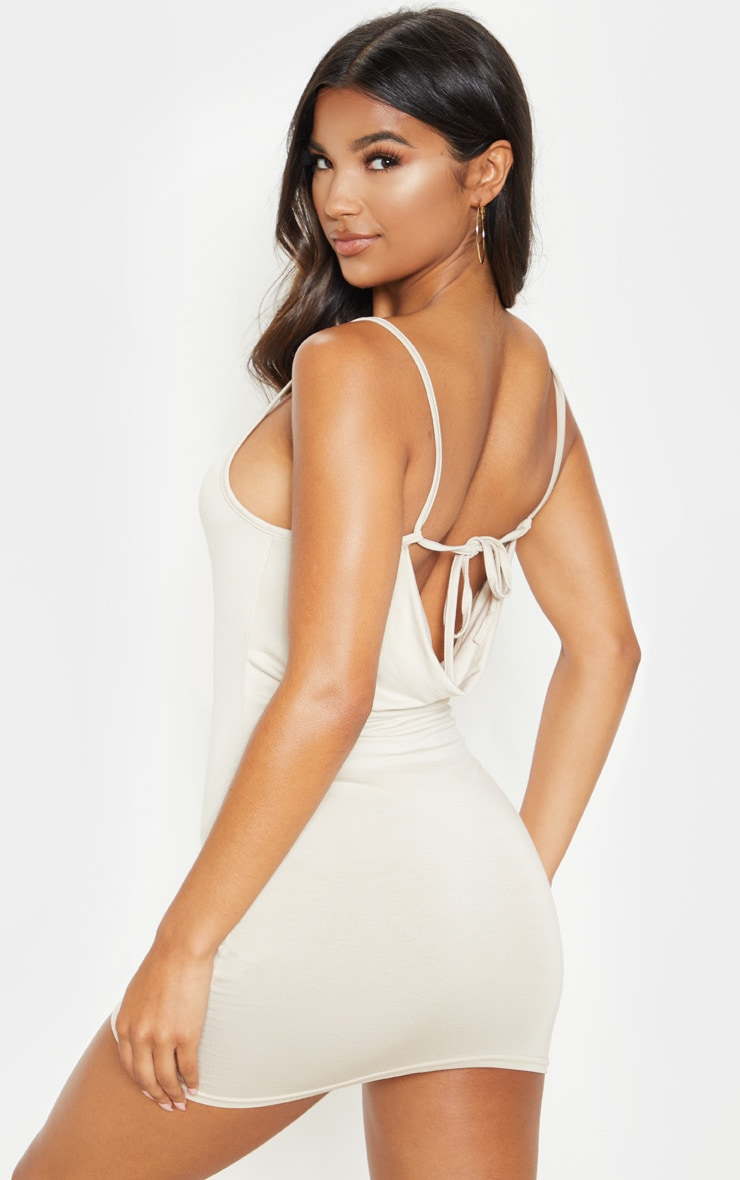 Stone Strappy Tie Cowl Back Bodycon Dress