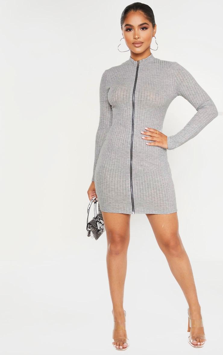 Petite Grey Marl Zip Up Long Sleeve Mini Dress 5