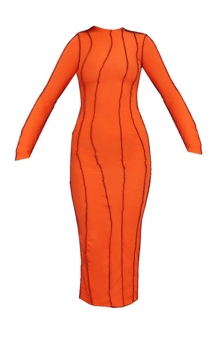 Orange Rib Asymmetric Seam Detail Long Sleeve Midi Dress 5