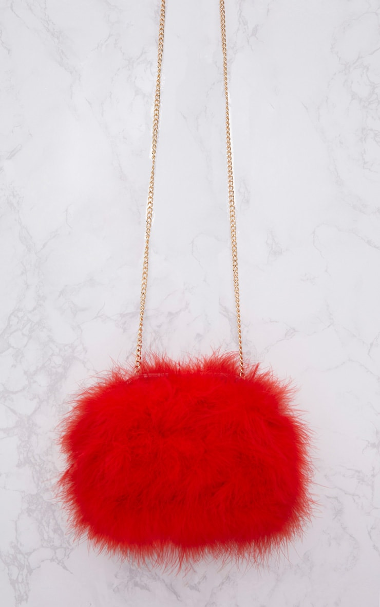 Red Marabou Feather Clutch Bag 3