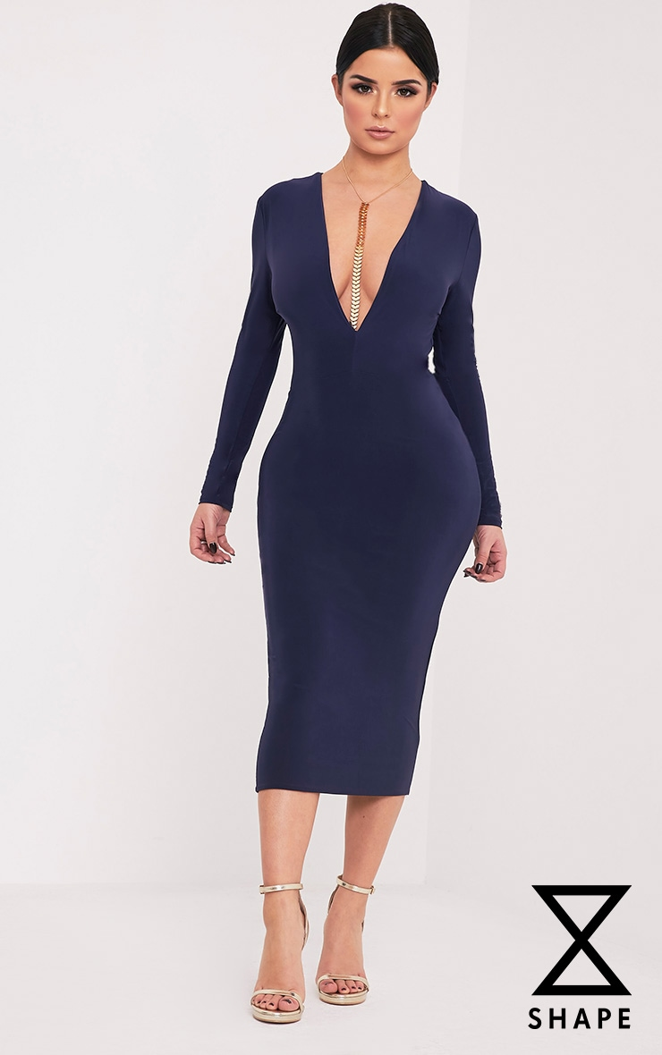 Shape Dennie Navy Plunge Slinky Midi Dress 1