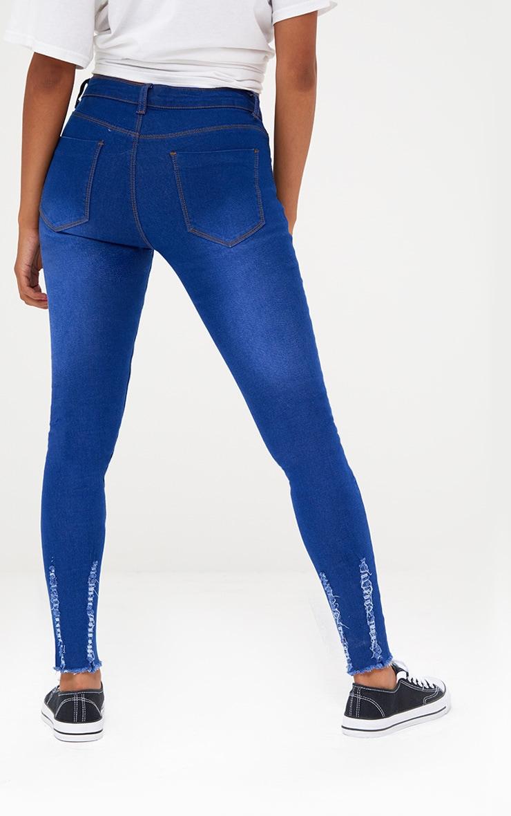 Petite Bright Blue Distressed Skinny Jeans 4
