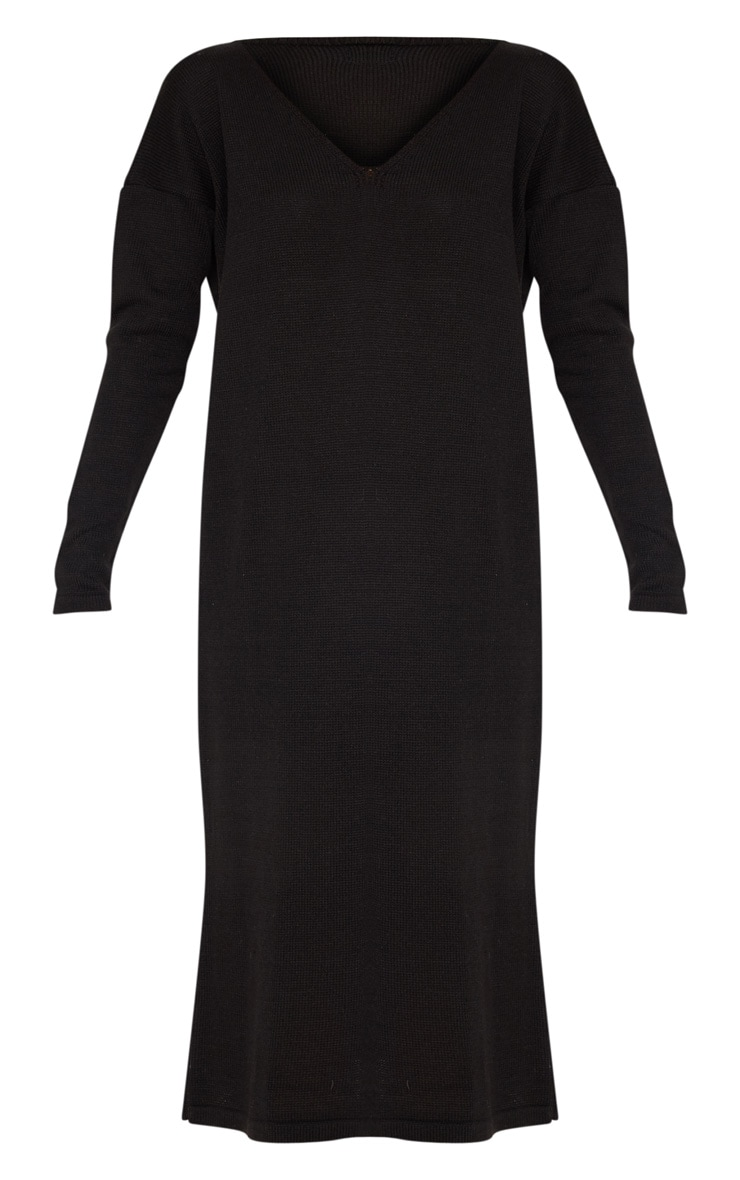 Black Longline Knitted Dress 3
