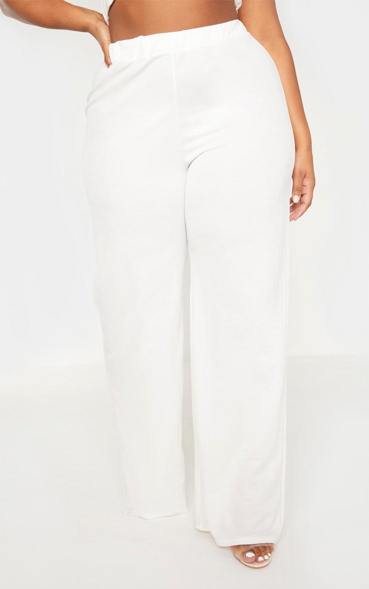 Plus Cream Woven Wide Leg Pants 2