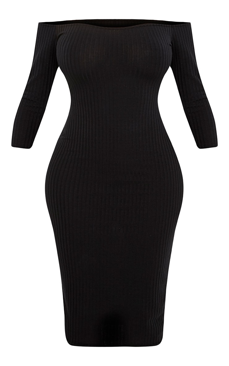 Shape Ailanna Black Ribbed Midi Bardot Dress 3