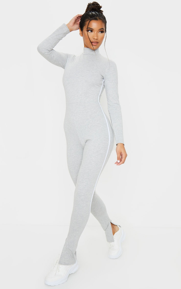 Grey Sports Stripe High Neck Jumpsuit 3