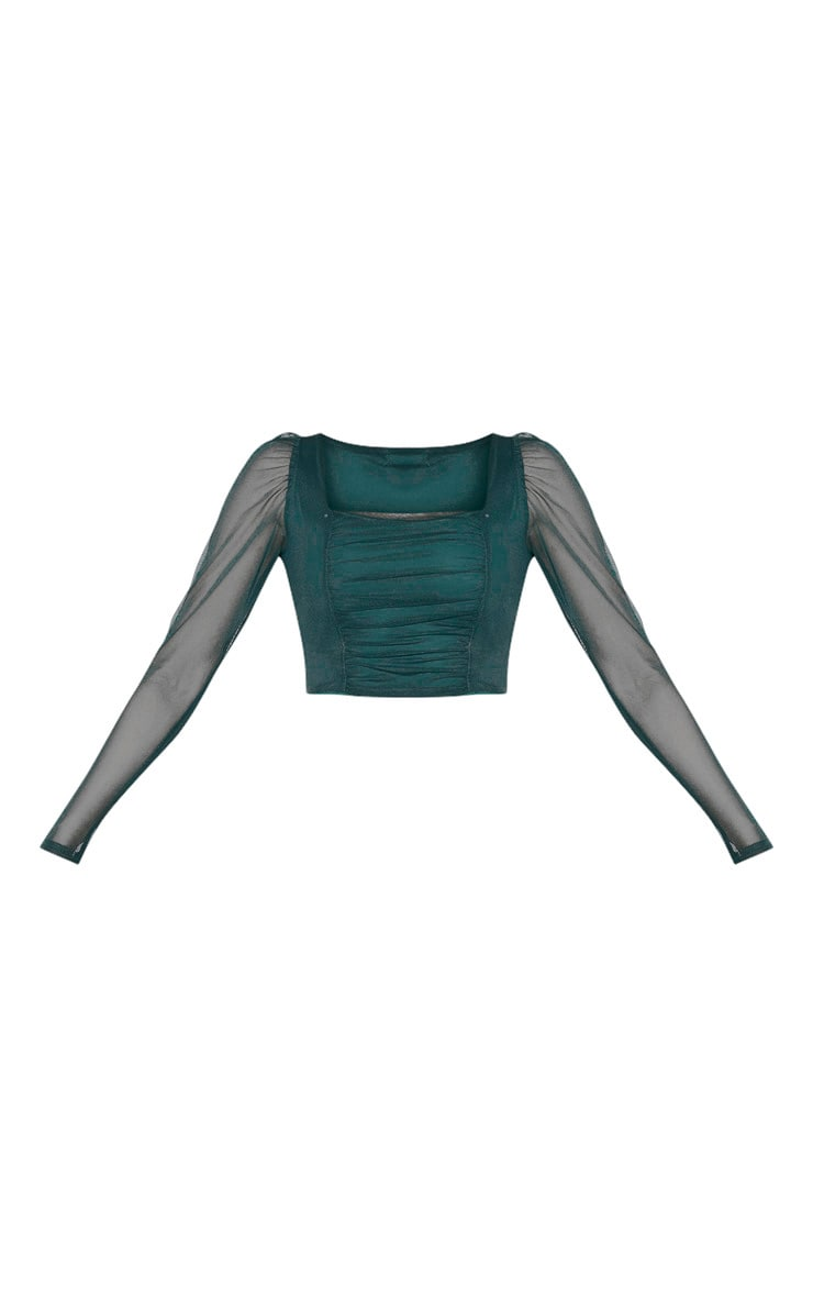 Tall Emerald Green Square Neck Mesh Ruched Long Sleeve Crop Top 3