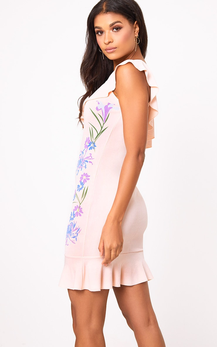 Nude Printed One Shoulder Bodycon Dress  2