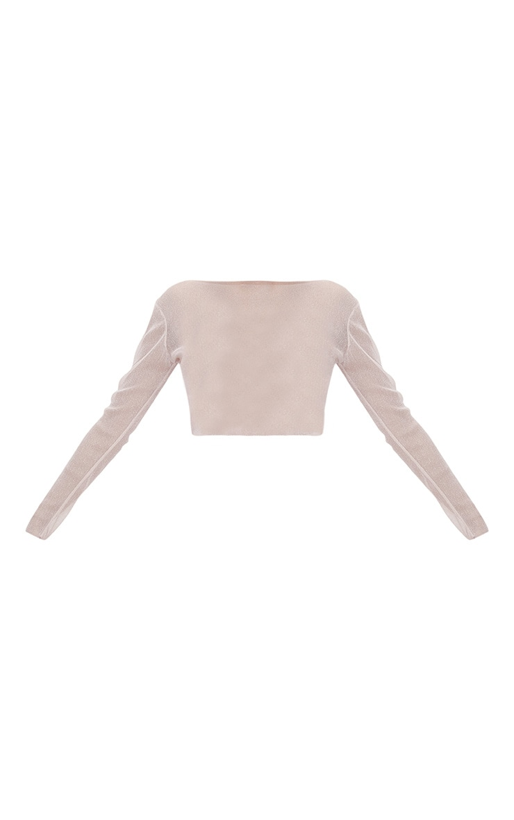 Pink Sheer Lurex Long Sleeve Top 3