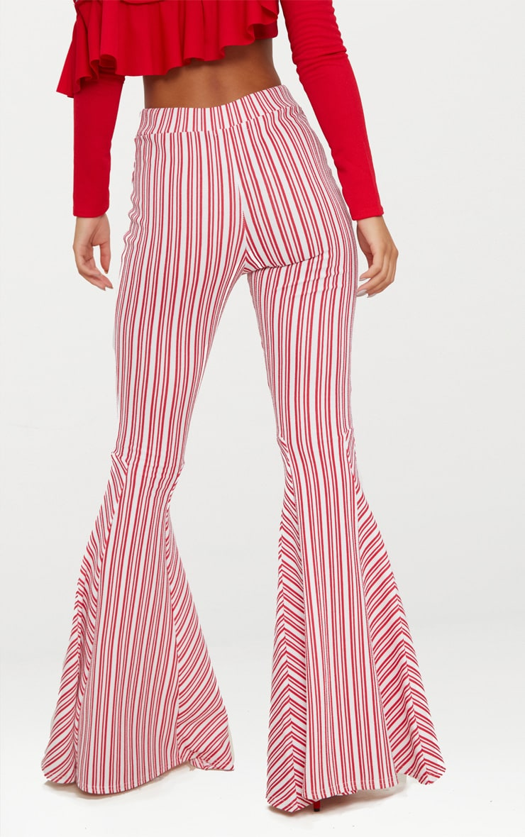 Red and White Stripe Extreme Flare Trouser 4