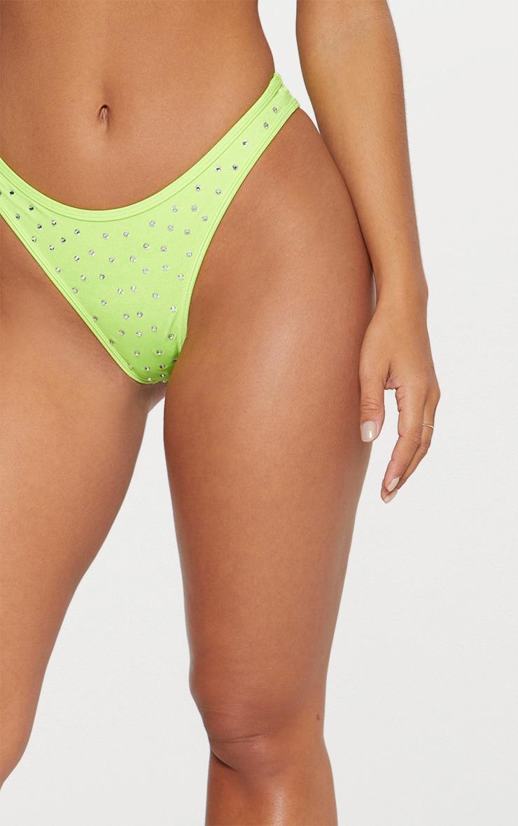 Limeade Diamante Studded Brazilian Bikini Bottom 5