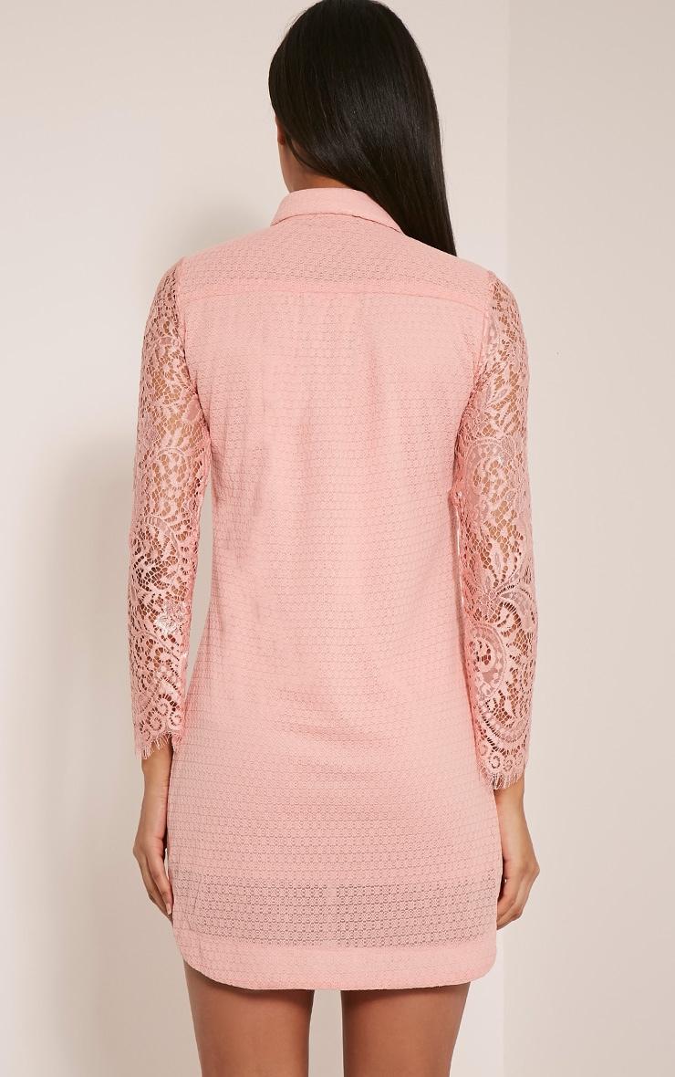 Gracey Blush Lace Detail Long Sleeve Shirt Dress 3
