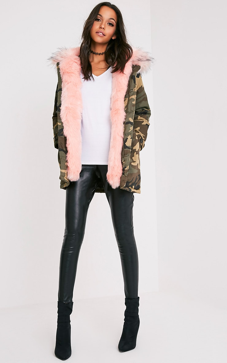 Fliss Baby Pink Camo Faux Fur Lined Parka 5