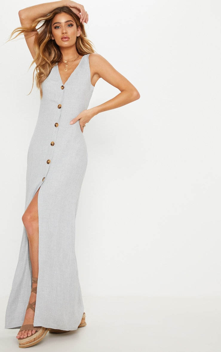 Pale Grey Tortoise Shell Button Up Maxi Dress 1