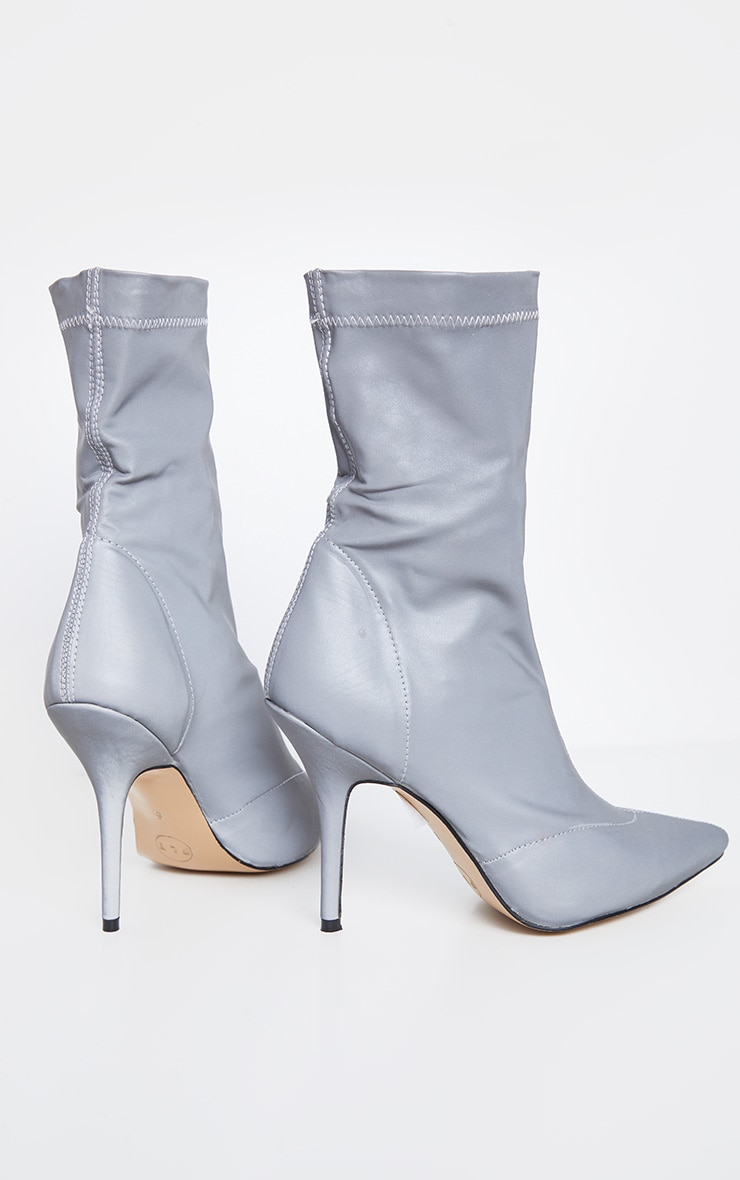 Grey Reflective Neoprene Heeled Sock Boot 4