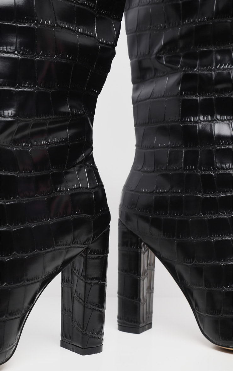 Black Knee High Point Block Heel Boot 5