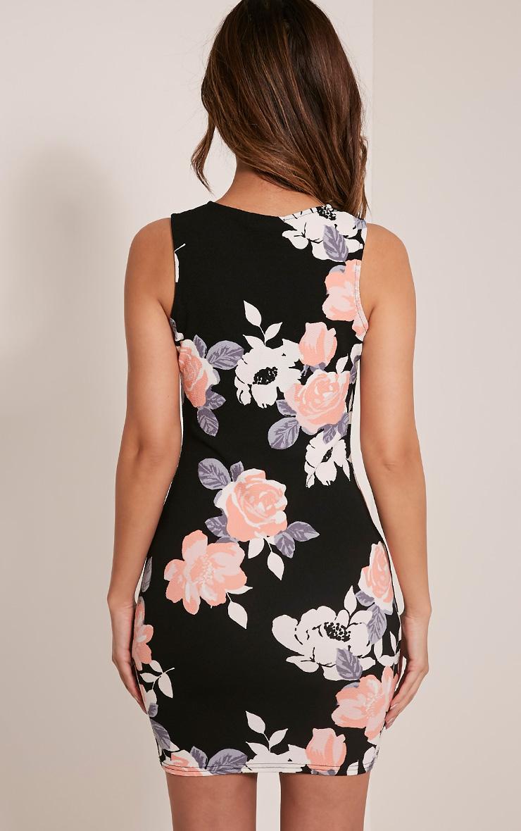 Kamaya robe mini noire devant nageur à fleurs 3