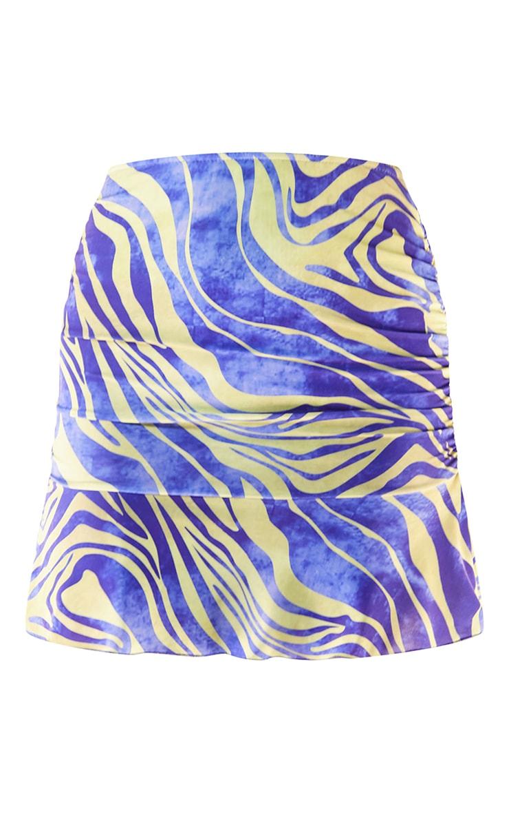 Blue Zebra Print Slinky Ruched Frill Hem Mini Skirt 6
