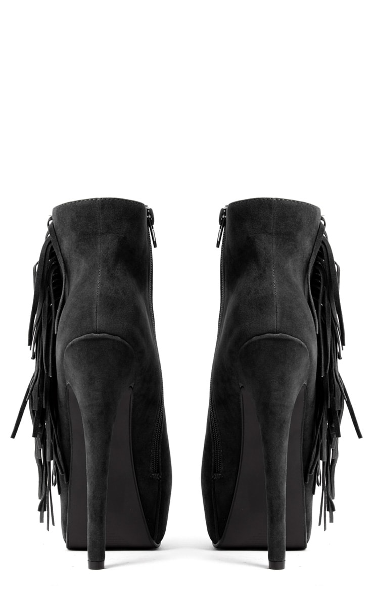 Ally Black Fringe High Heel Ankle Boots 3