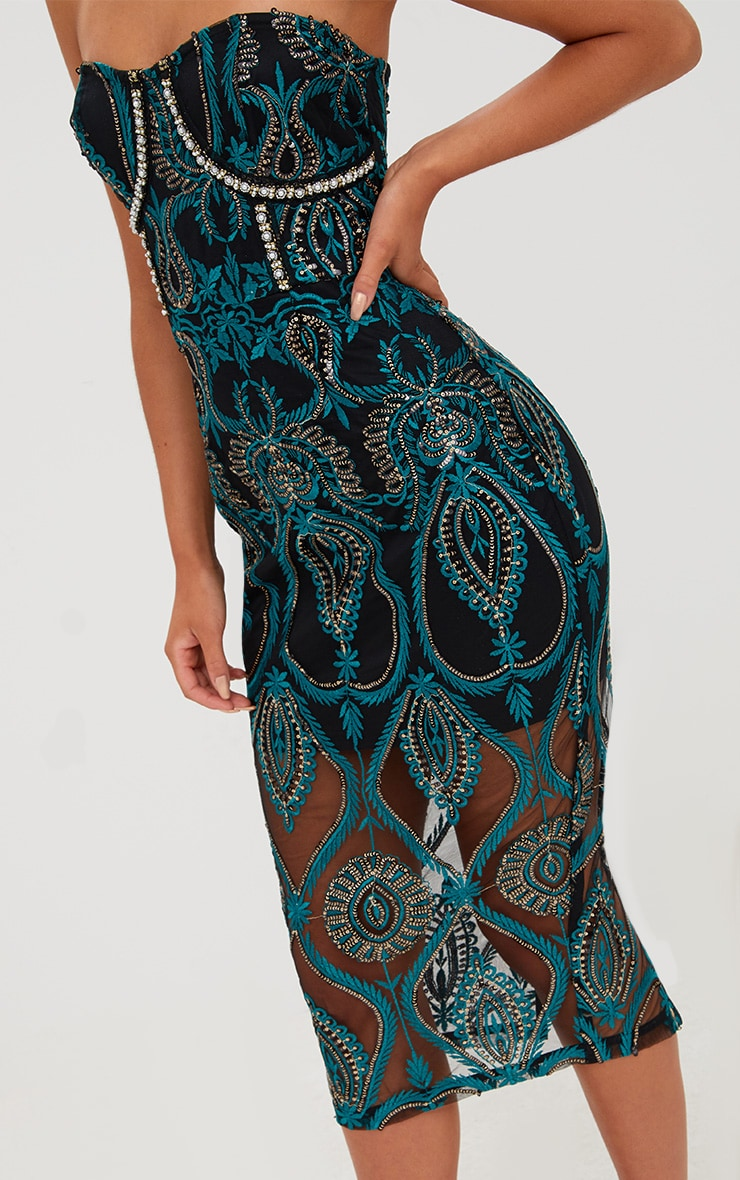 Premium Emerald Green Sequin Embroidered Bandeau Midi Dress 6