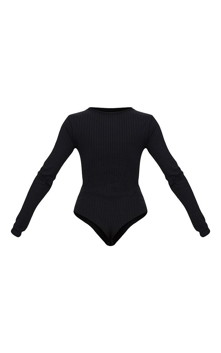 Black Rib Cut Out Front Long Sleeve Thong Bodysuit 4