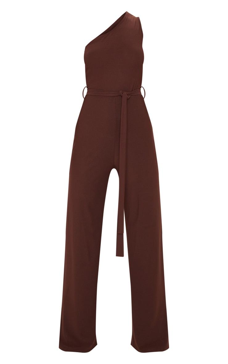 Chocolate One Shoulder Tie Waist Jumpsuit 3