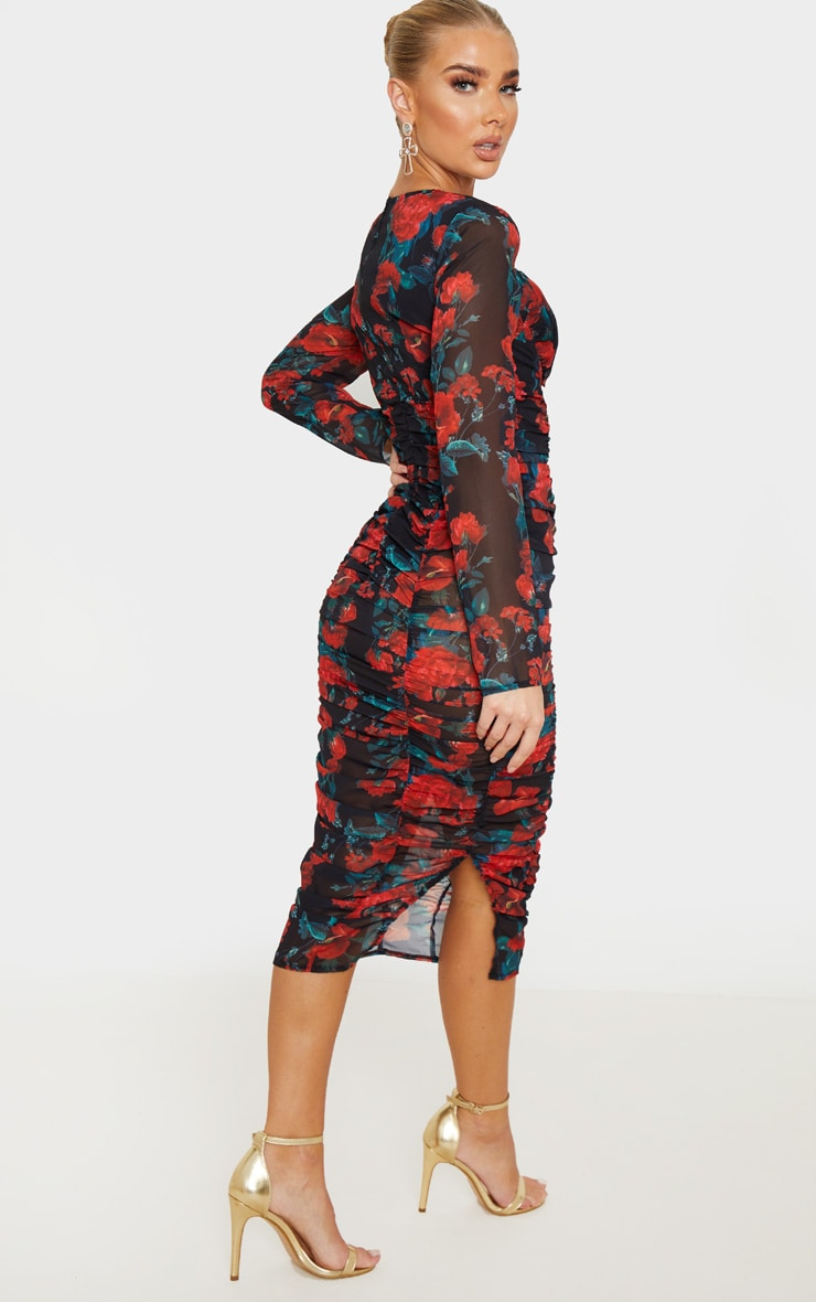 Black Rose Print Mesh Ruched Underwire Midi Dress 2