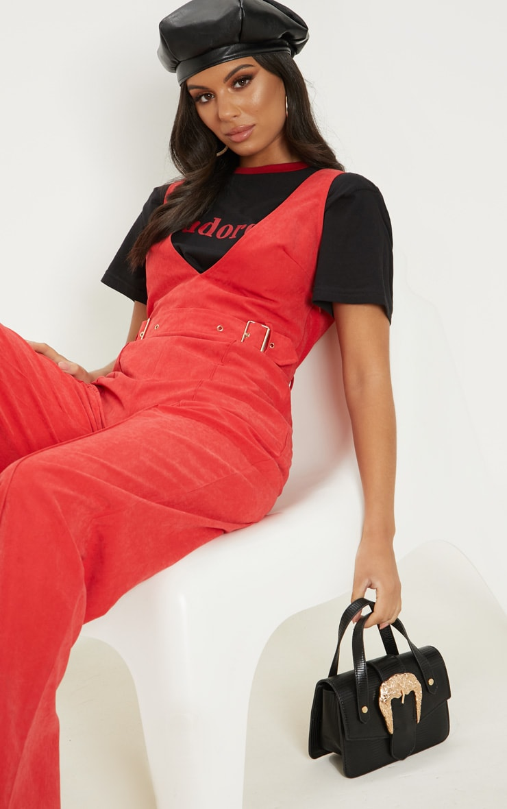 Red Soft Touch Belted Wide Leg Jumpsuit 5