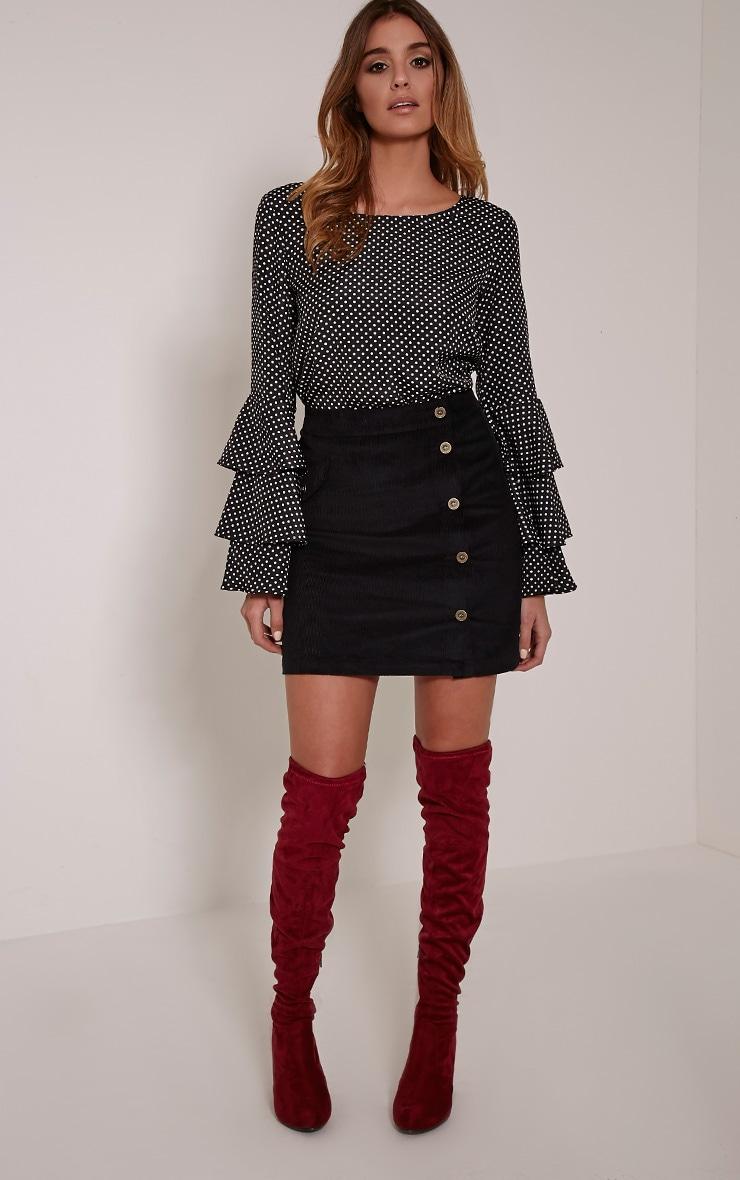 Orea Black Side Button Cord Mini Skirt 1
