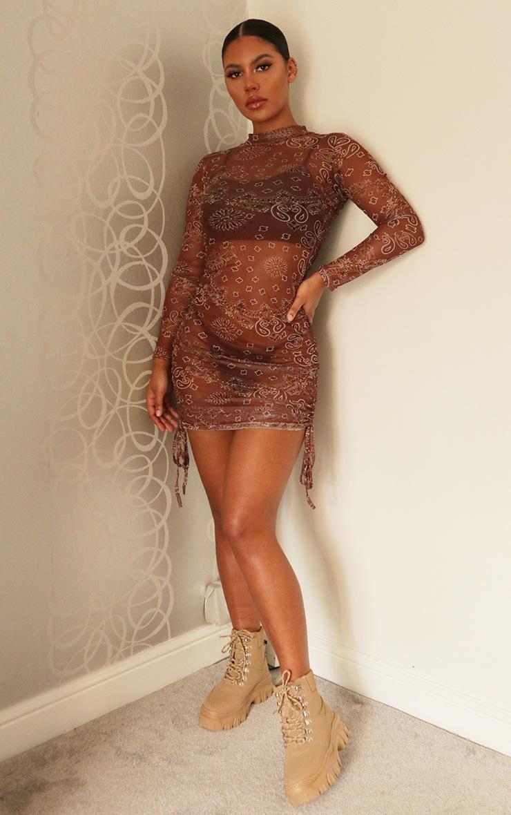Brown Bandana Print Mesh Ruched Detail Long Sleeve Bodycon Dress 3