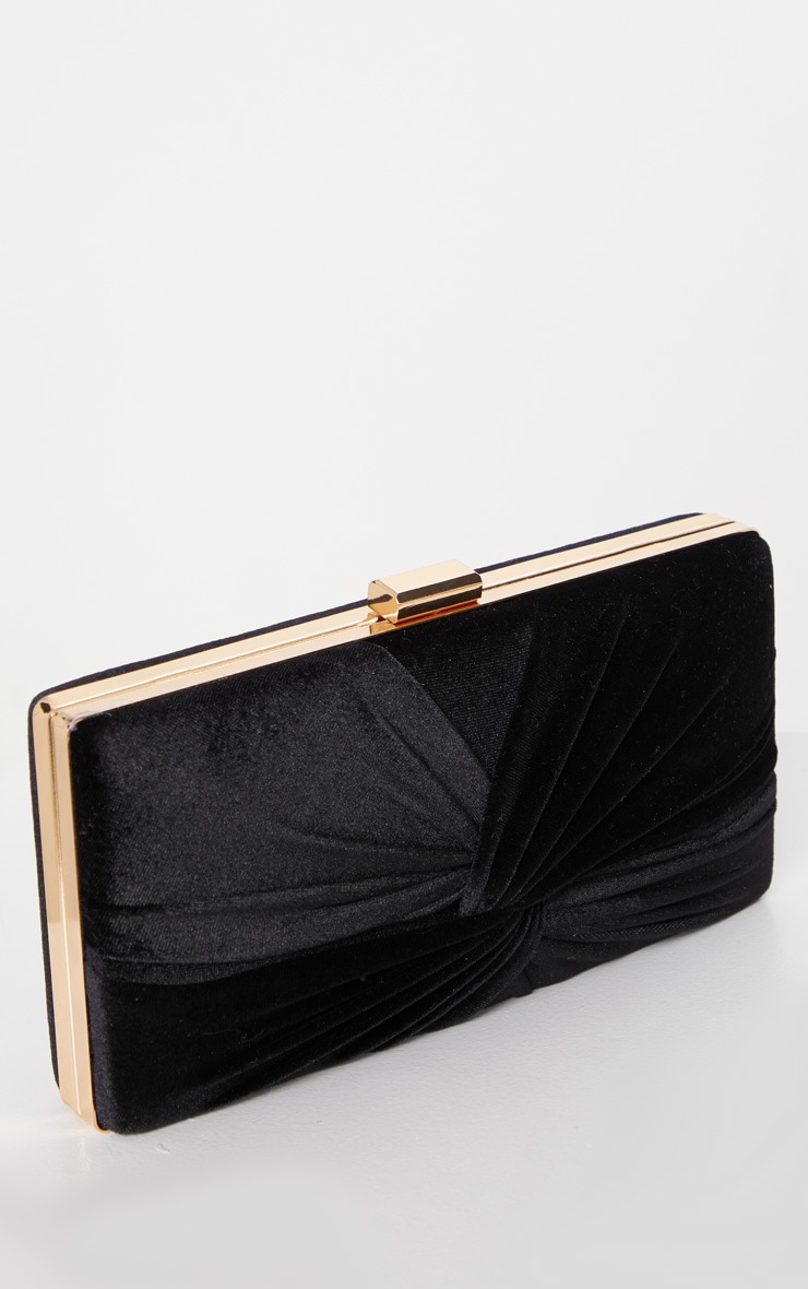 Black Velvet Knotted Front Box Clutch 1