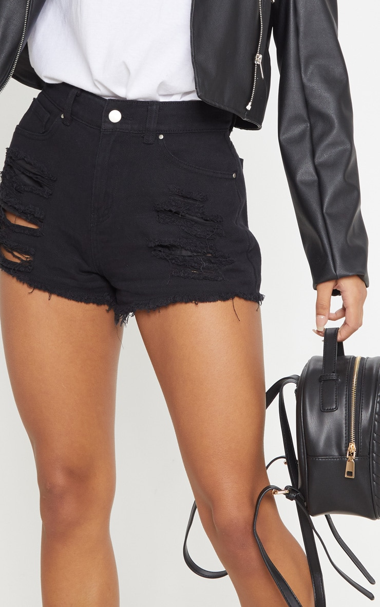 Black Ripped Denim Hot Pants 6
